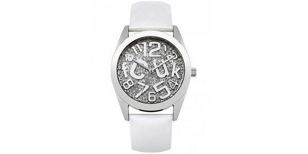 Dámské hodinky s kamínky FCUK - Bílé