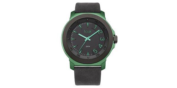 Dámské zeleno-černé hodinky FCUK Ladies