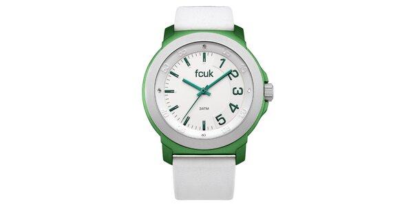 Dámské zeleno-bílé hodinky FCUK Ladies