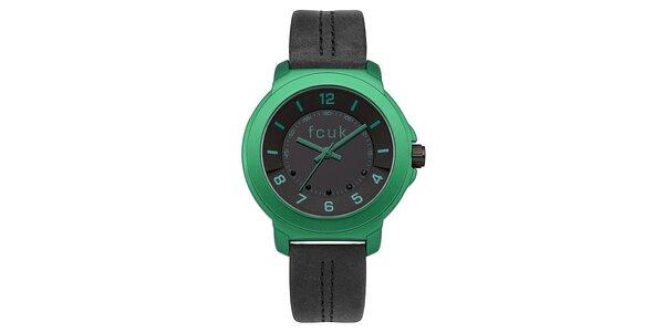 Dámské černo-zelené hodinky FCUK Ladies