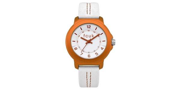 Dámské oranžovo-bílé hodinky FCUK Ladies