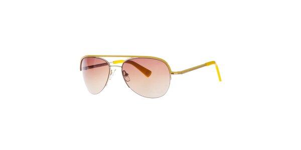Dámské zlaté sluneční brýle se žlutými prvky Michael Kors