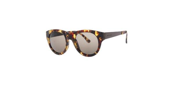 Dámské žíhané oválné sluneční brýle s černými skly Michael Kors