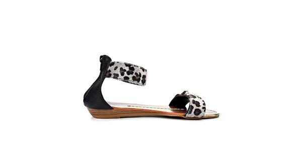 Dámské černé sandály s leopardím vzorem Timeless