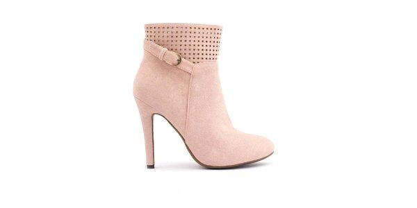 Dámské růžové boty s perforovanou horní částí Trendy Too