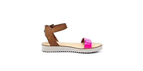 Dámské růžové sandálky na nízké platformě Timeless