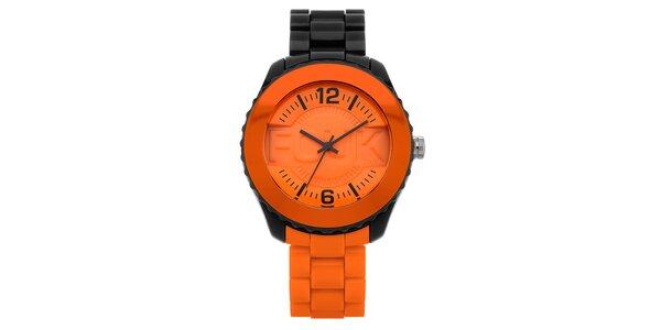Pánské černo-oranžové hodinky FCUK