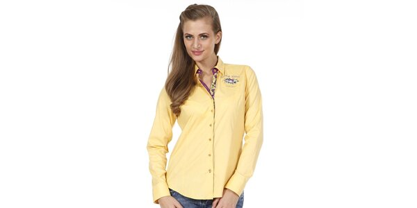 Dámská žlutá košile s kytičkou Pontto