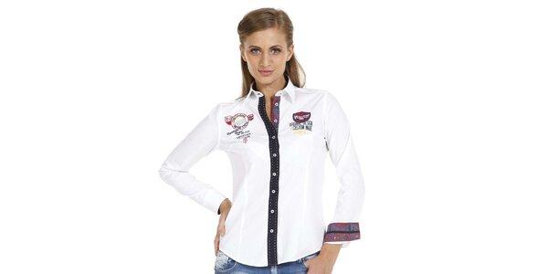 Dámská bílá košile s nášivkami a kontrastní légou Pontto