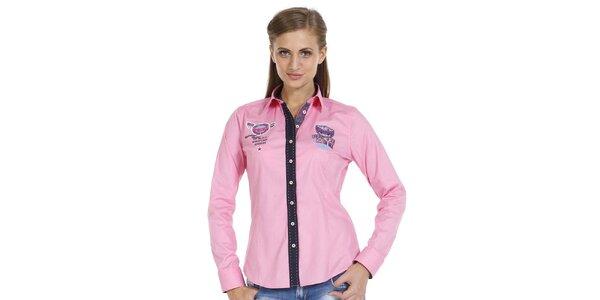 Dámská růžová košile s nášivkami a kontrastní légou Pontto