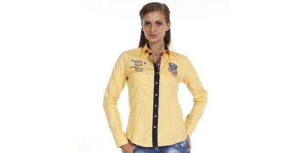 Dámská žlutá košile s nášivkami a kontrastní légou Pontto