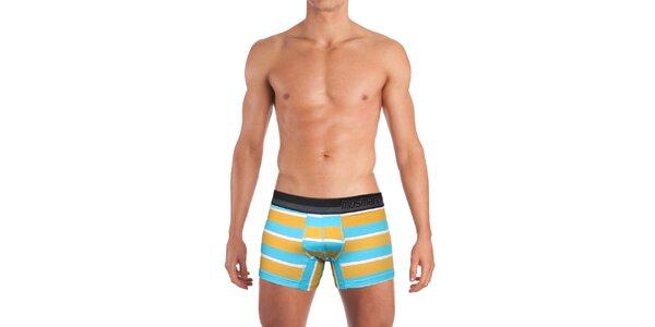 Pánské oranžovo-bílo-modře pruhované boxerky Mosmann