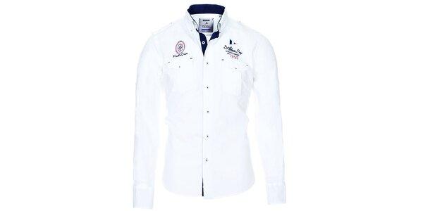 Pánská bílá košile s kapsičkami Pontto