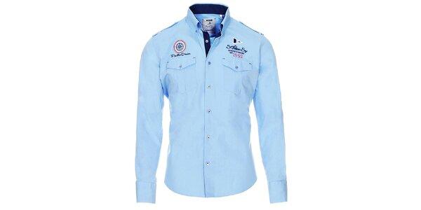 Pánská světle modrá košile s kapsičkami Pontto