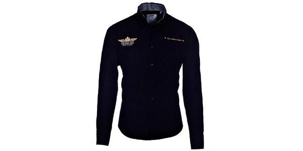 Pánská černá košile Pontto s výšivkou