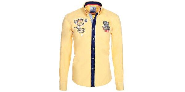 Pánská žlutá košile s kontrastní légou Pontto