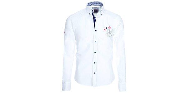 Pánská bílá košile Pontto s kostkovanými detaily