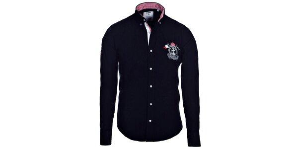 Pánská černá košile Pontto s kostkovanými detaily