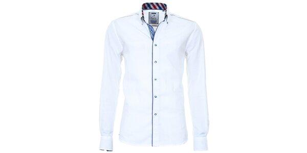 Pánská bílá košile s barevnými manžetami Pontto