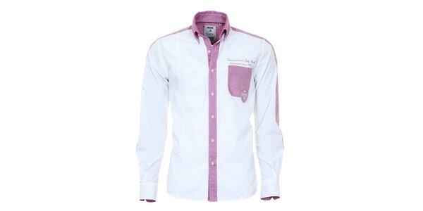 Pánská světlá košile s fialovými prvky Pontto