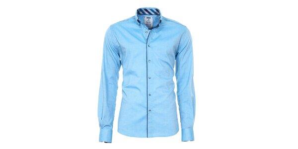 Pánská modrá košile s barevnými manžetami Pontto