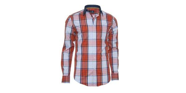 Pánská modro-oranžová košile s károu Pontto