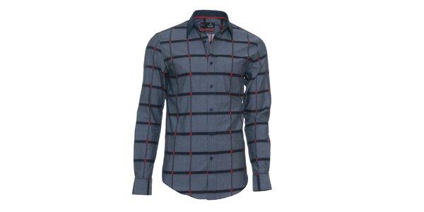 Pánská šedá košile s červenými detaily Pontto