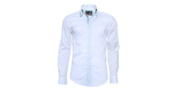 Pánská světle modrá košile s pruhovanou légou Pontto
