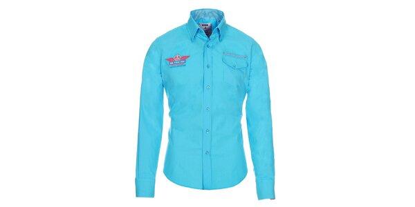 Pánská modrá košile Pontto s ozdobnými prvky a náprsní kapsou