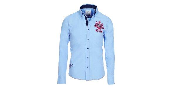 Pánská světle modrá bavlněná košile Pontto