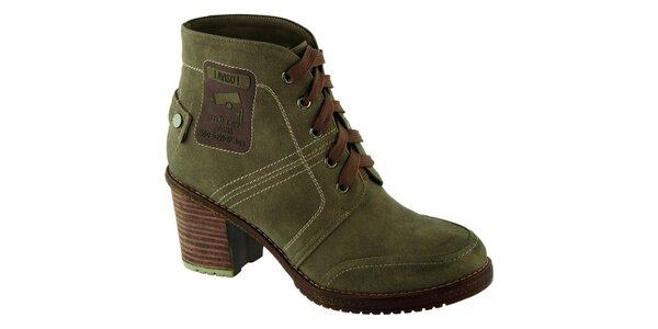 Dámské zelené boty na podpatku Betsy