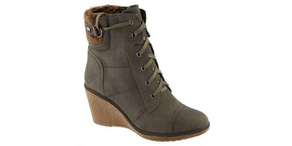 Dámské teplé kotníčkové boty na podpatku Betsy
