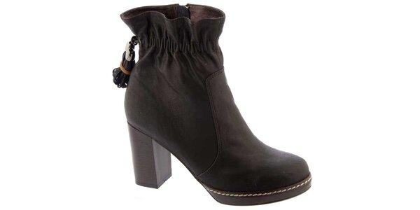 Dámské hnědé boty Elisabeth s utahováním u kotníku