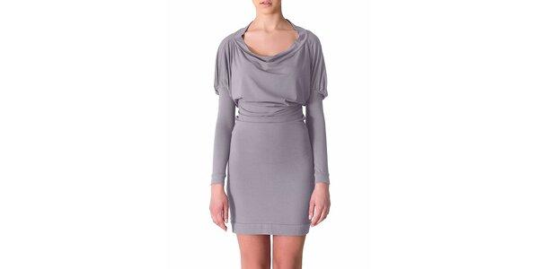 Dámské světle šedé šaty s řasenými rukávy Yuliya Babich