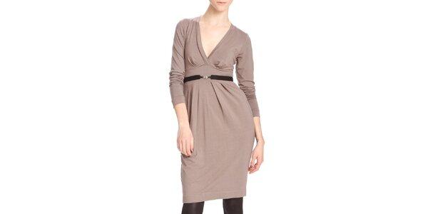 Dámské hnědobéžové šaty s černým páskem Yuliya Babich