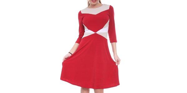 Dámské červené šaty s bílými a krémovými prvky Oriana
