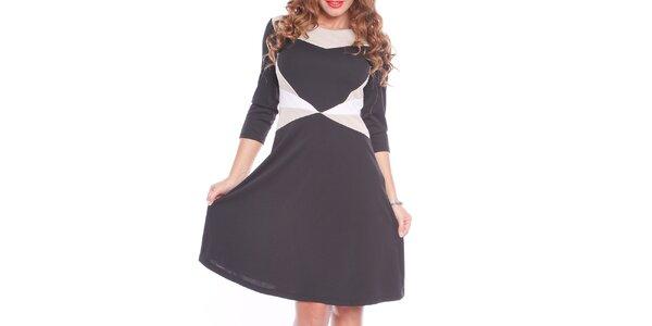 Dámské černé šaty s bílými a krémovými prvky Oriana