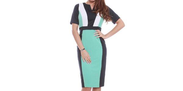 Dámské zeleno-černo-bílé šaty s krátkým rukávem Oriana