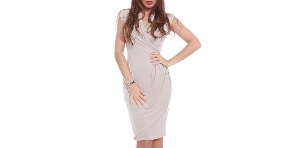 Dámské béžové šaty s krátkým rukávem Oriana