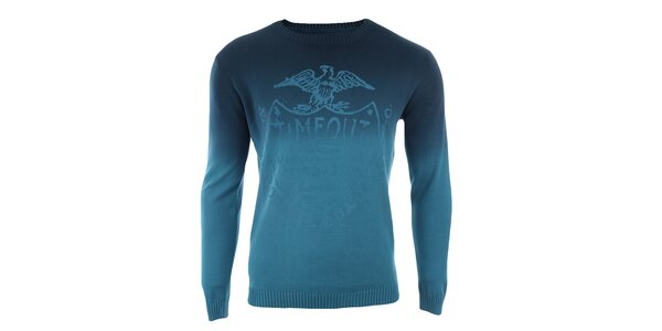 Pánský modrý svetr s potiskem Timeout