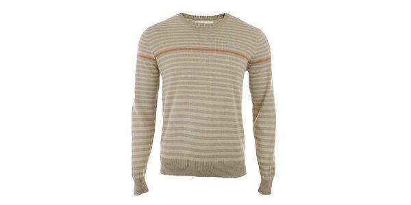 Pánský béžový svetr s proužky Timeout