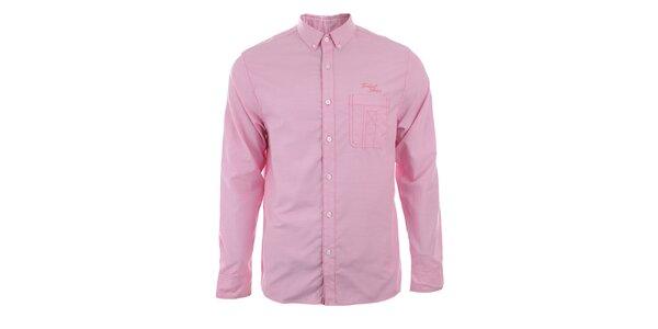 Pánská světle růžová košile s dlouhým rukávem Timeout