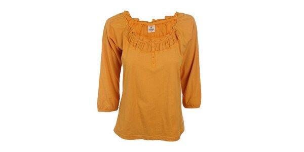 Dámské žluté tričko s ozdobným lemem výstřihu Timeout