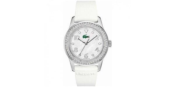 Dámské hodinky z nerezové oceli s bílým páskem a kamínky na lunetě Lacoste