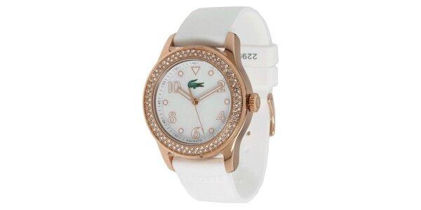 Dámské ocelové hodinky s bílým páskem a kamínky na lunetě Lacoste