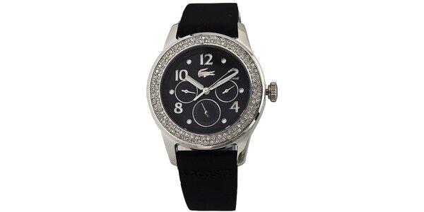 Dámské černé ocelové hodinky Lacoste