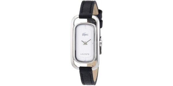Dámské minimalistické hodinky s černým koženým páskem Lacoste