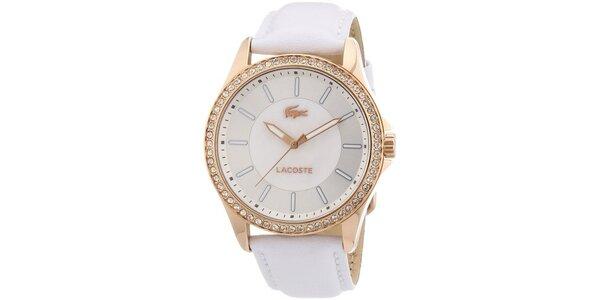 Dámské bílé hodinky s kamínky Lacoste