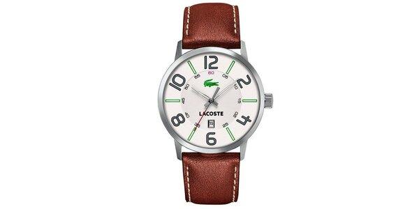 Pánské hodinky s hnědým řemínkem Lacoste