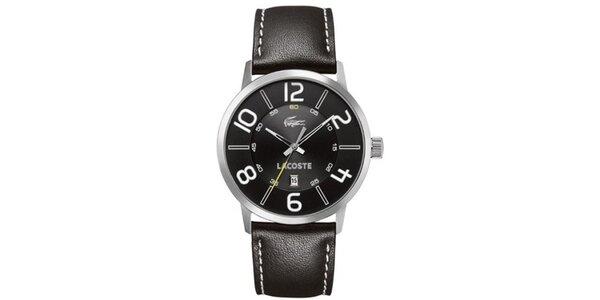 Pánské černé hodinky s bílými detaily Lacoste